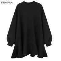 PRAPRA New Blouse Women Shirt Large Size Autumn Winter Loose Dolman Long Sleeve Crew Neck Ruffle