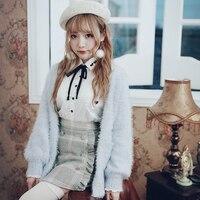 נסיכה מתוקה לוליטה אנגורה סוודר ורוד וכחול BOBON21 גל תחתון תחושת הבחורה תלמיד סגנון סוודר רך T1413