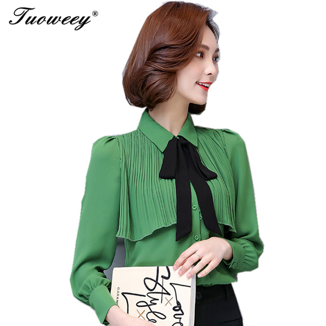 040364279 2018 New Brand Spring Summer Women Clothing Girl Casual Bow tie Ruffle long  Sleeve Chiffon Blouse Shirt Office Lady Formal Tops