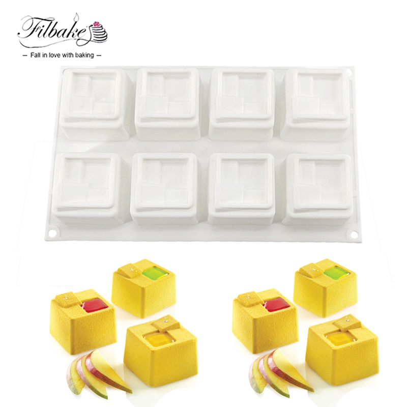 FILBAKE 8 Cavity Square GEM Shaped Cake Mold Baking Pastry Tools Non stick Molds Cake Decorating