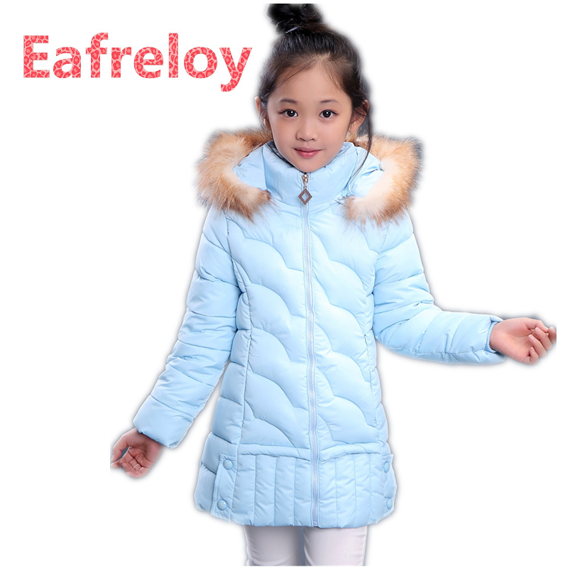 2017 Fur Hooded Baby Teenage Winter Jacket For Girls Cotton Down Parka Girls Winter Coat Long Warm Thick Kids Children's Coat plus size 6xl loose parkas women winter jacket and coat high quality fur collar thick cotton long padded hooded jacket pw1033