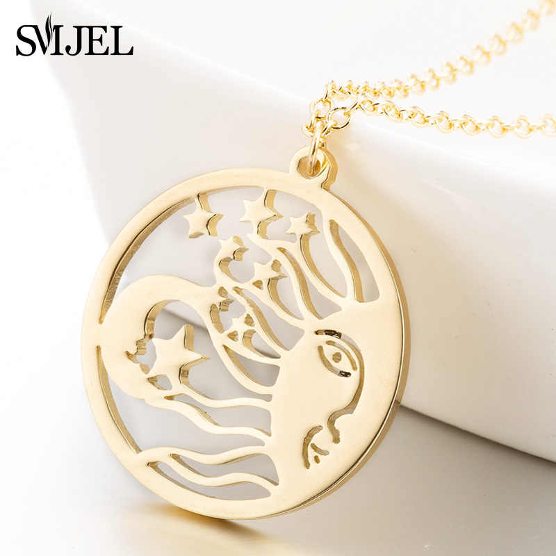 SMJEL Stainless Steel Sun Moon Star Necklaces for Women New Vintage Mayan Civilization Jewelry Long Chain Necklace Bijoux