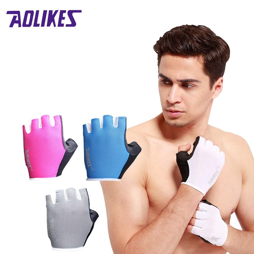 AOLIKES 1 זוגות למבוגרים נגד החלקה לנשימה כפפות חדר כושר מבנה גוף אימון כושר תרגיל משקל משקולת ספורט כפפת הרמת