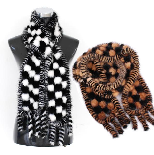 2016 das Mulheres de Inverno Genuine Real Malha Mink Fur Cachecóis com Borlas Lady Fur Cachecol Neckwarmer