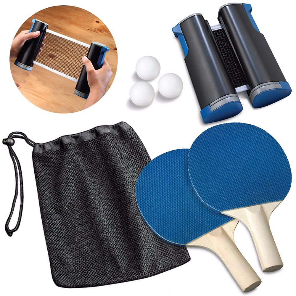 Table Tennis Racket Blade Ping Pong Paddle Portable Sport Table Tennis Set 1 Pair Of Bat + 3 Balls + 1 Net For Workout Trainning