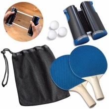 Table Tennis Racket Blade Ping Pong Paddle Portable Sport Table Tennis Set 1 Pair of Bat + 3 Balls + 1 Net For Workout Trainning цена и фото