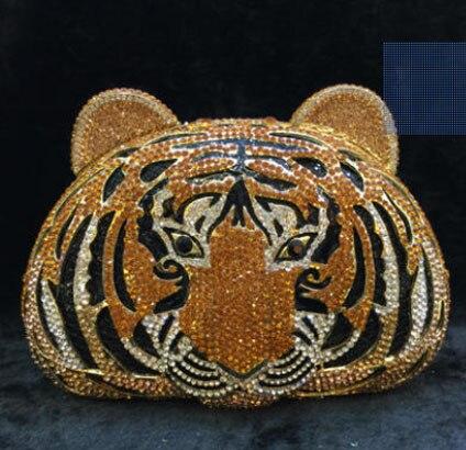 Boîte cadeau cristaux en forme de tigre sac femmes soirée pochettes dames de mariage de mariée en métal cadre sac à main sac à main fête de bal embrayages