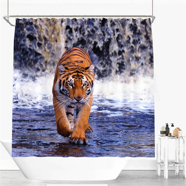 Tiger Dog Horse Fish Shower Curtain Polyester Fabric Bathroom Curtain  Flexible Pull Style Waterproof Shower