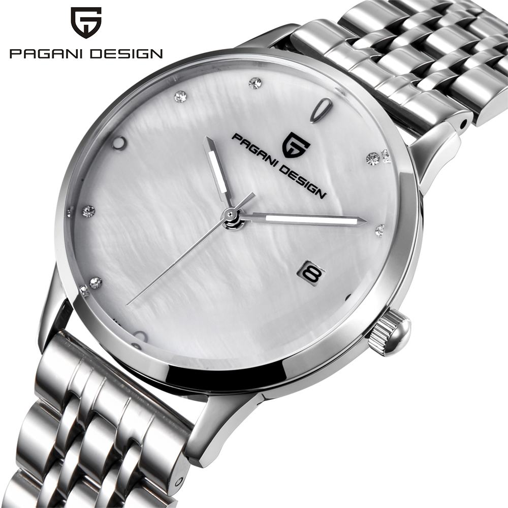 PAGANI DESIGN Brand Lady Fashion Steel Quartz Watch Women Stainless Waterproof Relogio Femininoshell dial Luxury Dress Watches big dial simple watch for women top brand luxury pu leather hot design quartz watch dress lady watches nice relogio digital