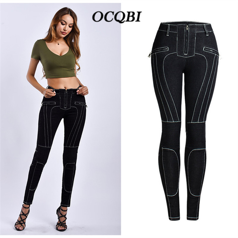 2019 Plus Size Ripped Jeans for Women Fashion Skinny Elasticity Boyfriend High Waist Jeans Zipper Fly