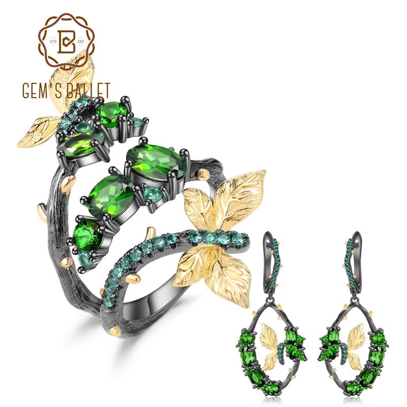GEM S BALLET Natural Chrome Diopside Original Jewelry Set For Women 925 Sterling Silver Handmade Adjustable