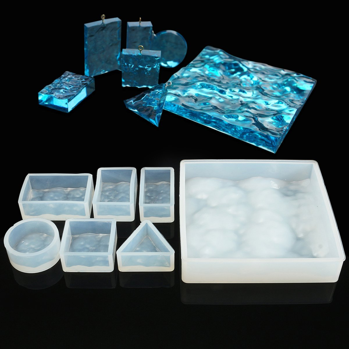 7pcs/set 3D Water Ripple Silicone Mold Mould Epoxy Jewelry Beads Making DIY