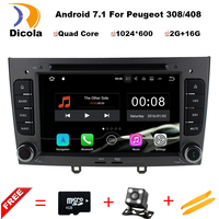 Car DVD Player Navigation Android 7.1.1 For PEUGEOT 308 408 With Bluetooth GPS Multimedia Reversing Camera SWC USB MP3 hand free