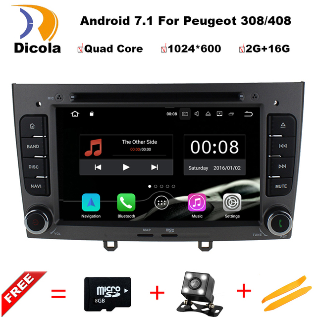 car dvd player navigation android 7 1 1 for peugeot 308 408 with bluetooth gps multimedia. Black Bedroom Furniture Sets. Home Design Ideas
