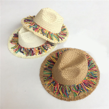 2019 Summer Fashion Holiday Beach Sun visor Straw hat Jazz panama with fringing Women Party Caps