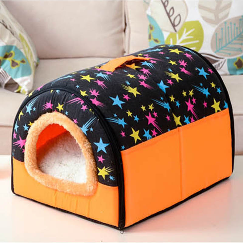 High Quality Pet Cat House Foldable Soft Comfortable Winter Cartoon Dog Bed Dog House Cute Kennel Nest Dog Cat Bed