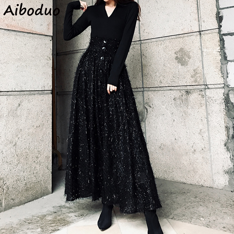 Women Winter Vintage Long Tassel Skirt Female Solid Black Single Buttons Maxi Skirts Tulle Bototms 2019 High Waist Clothing