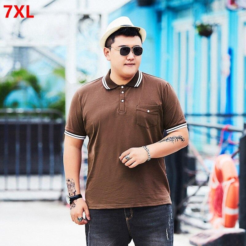 Tide big man plus size XL short-sleeved lapel loose   POLO   shirt 7XL 6XL 5XL 4XL XXXXL