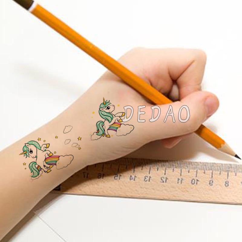 Waterproof Temporary Tattoo Sticker Cute Unicorn Fake Tatoo Tatouage Temporaire Flash Tatto hand foot For Kids Children Girl 3