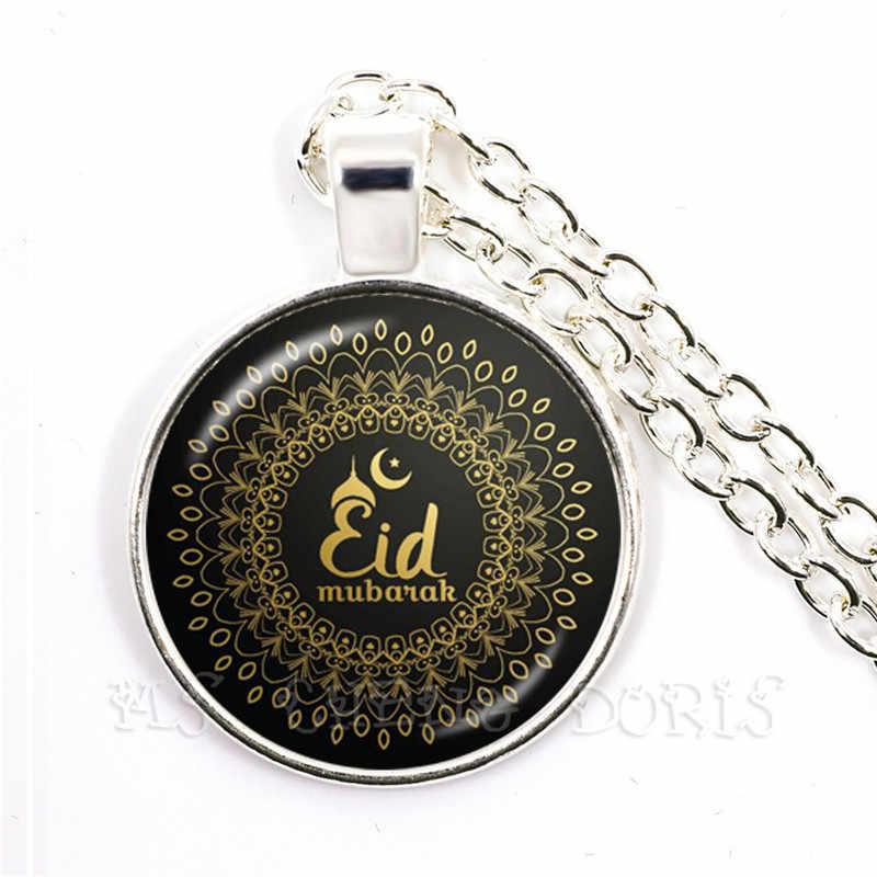 Tiếng Ả Rập Hồi Giáo Hồi Giáo Thần Thánh Allah Mặt Dây Chuyền Vòng Cổ 25mm Vòm Kính Cabochon Trang Sức Ramadan Dành Tặng Cho Bạn Bè