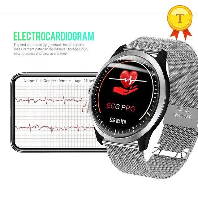 جديد ساعة ذكية ECG + إندستريز القلب معدل الدم مراقبة ضغط IP67 waterpoof عداد الخطى الرياضية سوار لياقة بدنية للرجال النساء