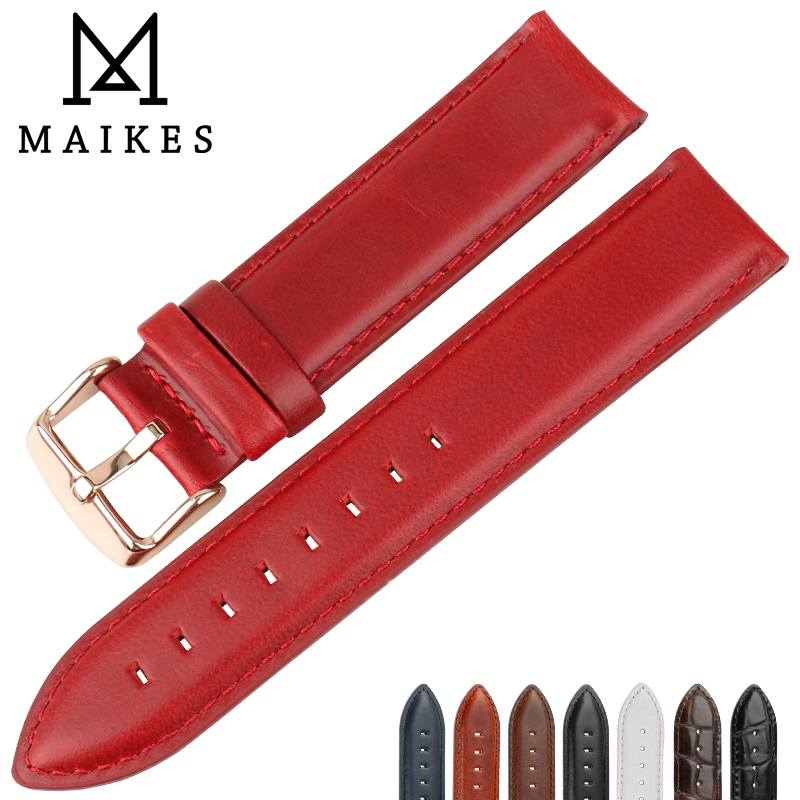 MAIKES Fashion Leather Watch Band Red With Rose Gold Clasp Watchband 16mm 17mm 18mm 20mm For DW Daniel Wellington Watch Strap