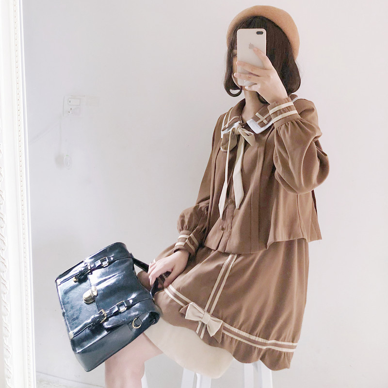 Japanese school uniform for girls sailor set school girl costume Long sleeved school uniform 2 Pcs