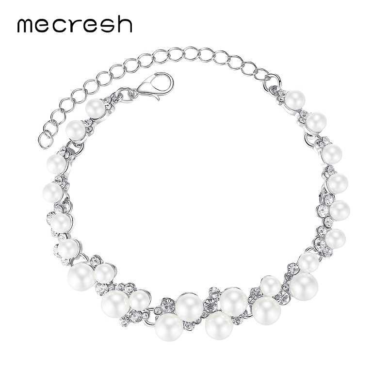 Mecresh Elegant Simulated Pearl Bridal Bracelets for Women Silver Color Crystal Wedding Pulseiras New European Jewelry MSL325