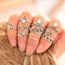 10pcs/set 2017 Fashion Retro Women Boho Antique Silver Plated Ring Set Jewelry Accessories