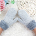 New Brand 2016 Mittens Womens Warm Winter Knitted Cashmere Twisted Warm Gloves Pure Color Even Refers to Knitted Gloves