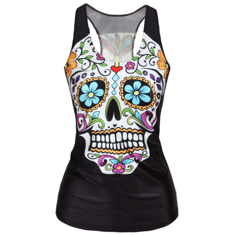 New Sexy Fashion Punk Girl Slim Tank Tops Harajuku Women 3D Tops Vest Cool Woman Vests Skull Print Camisole
