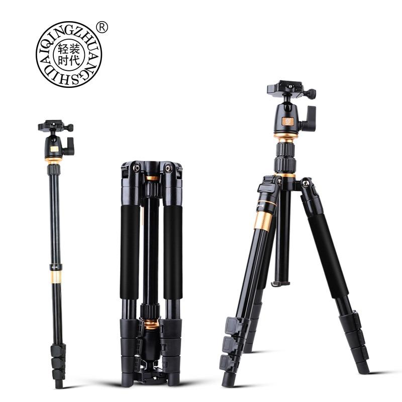 Profissional Câmera de Vídeo Tripé QZSD Monopé Extensível Com Prato de Liberação Rápida Suporte Q555
