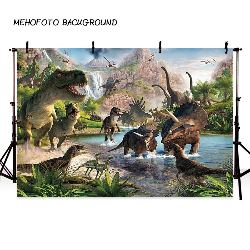 MEHOFOTO Jurassic World Photography Backdrop Dinosaur Safari Jungle Party Backdrops for Birthday Decorations Photo Background
