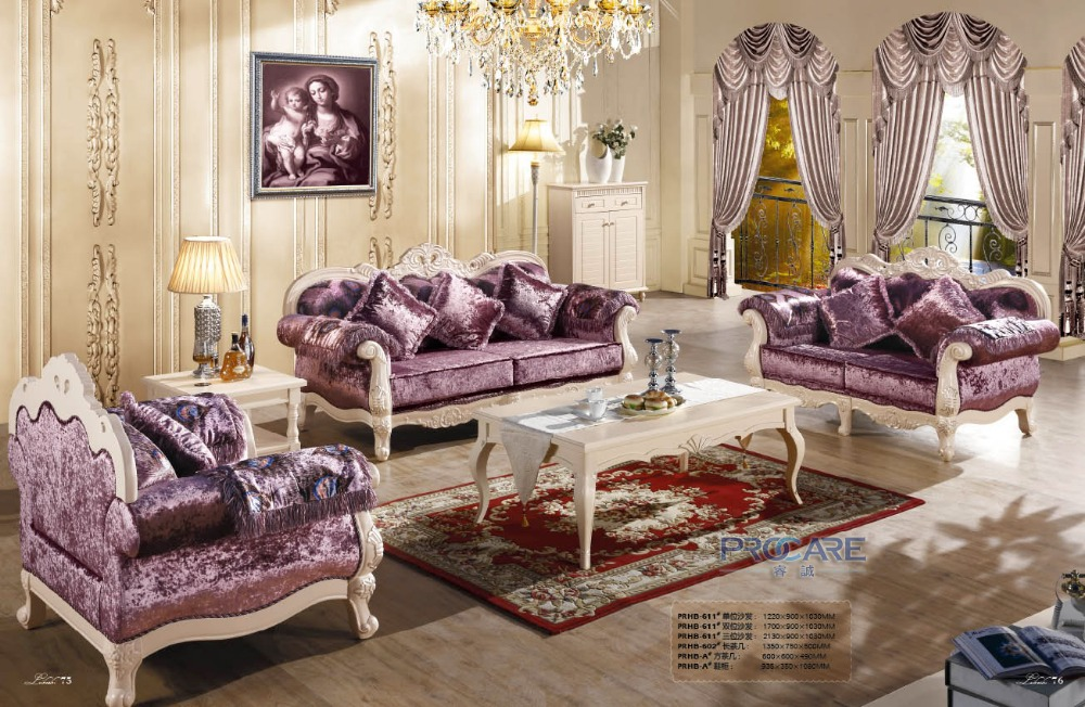 3 2 1 Purple Fabric Sofa Set Living Room Furniture Modern Wooden Sex Furnitur