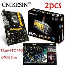Cnikesin 2 шт. TB250-BTC Pro 100% новый в коробке 12 PCIe для Biostar TB250-BTC TB250 1151 DDR4 материнской альтернатива H81 btc Pro TB85