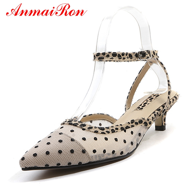ANMAIRON Sandals Mid-High-Heel Pointed-Toe Shoes-Size Fashion Women Hot 34-42 Horsehair