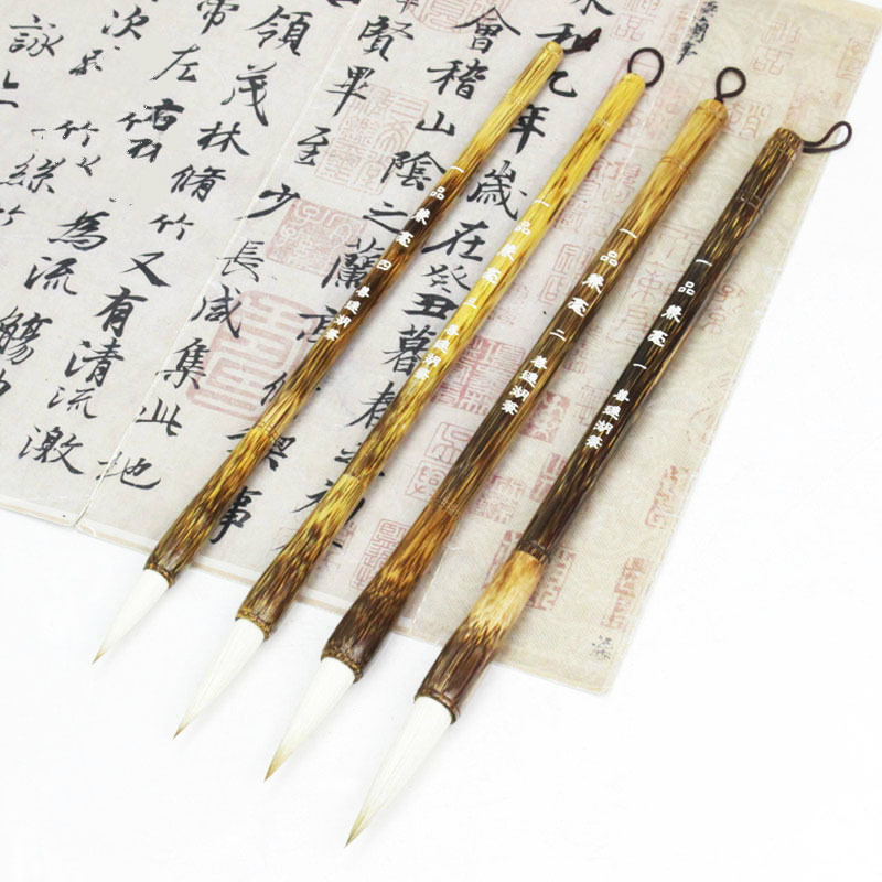 Calligraphy Landscape Painting Brush Pen 4pcs Chinese Traditional Calligraphy Brush Small Regular Script Brush Pen 12 hooks hanging wooden wings brush calligraphy pen resting four treasures calligraphy frame accessories kit