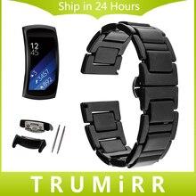 18mm Plein En Céramique Montre Bande + Lien Remover pour Samsung Gear Fit 2 SM-R360 Butterfly Fermoir Courroie de Poignet Bracelet Noir Blanc