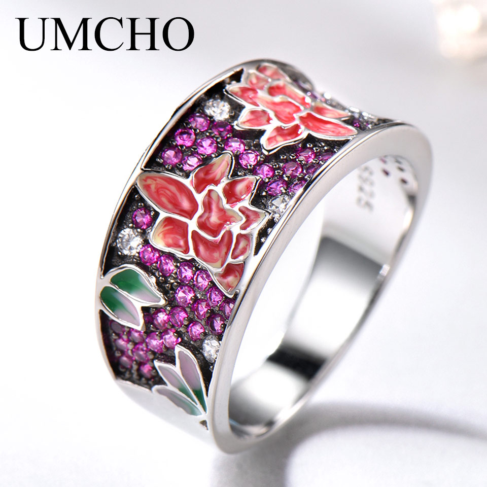 UMCHO Silver Rings For Women 925 Sterling Silver White CZ Handmade Enamel Plant Flower Unique Ring Female Party Gift  Jewelry