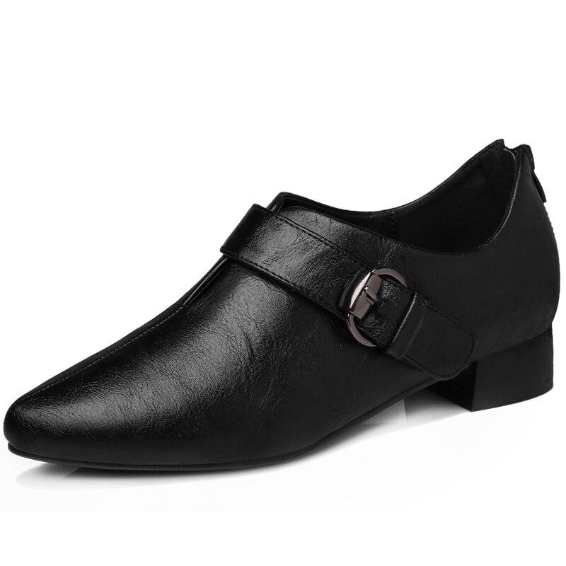 ФОТО Women's Spring 2017 Black Mid Heel Zipper Back Buckle Decoration Pumps Lady Girl Shoes