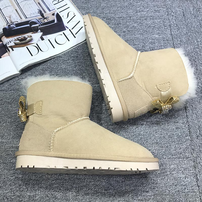 Fashion Snow Boots Women Wedges Knee-high Slip-resistant Boots Thermal Female Cotton-padded Shoes Warm Winter