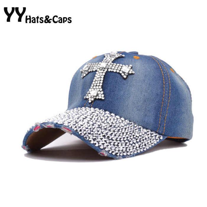 87877812f3531 Jean Snapback Hat Cap Base Ball Cap Women Bling Hats Retro Distressed Crystal  Blue Denim Men
