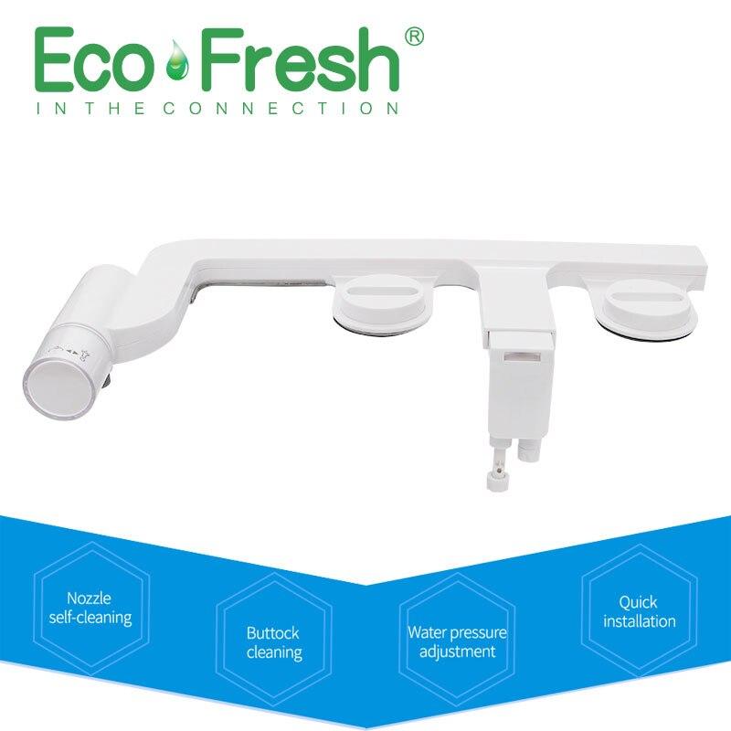 Ecofresh Água Fria Não-Elétrico Assento Do Vaso Sanitário inteligente Washlet Bidé Pulverizador dupla Bicos de Assento Do Vaso Sanitário Lavagem Ginecológico