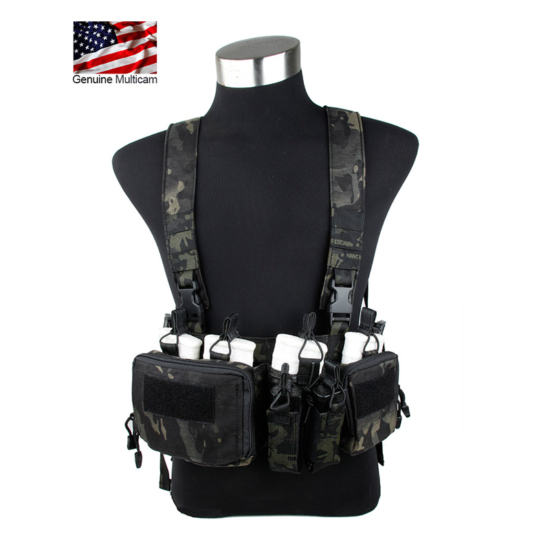Multicam Black Chest Rig with Magazine Pouches Harness with mangazine Pouch MCBK Chest rig Gunner Kit