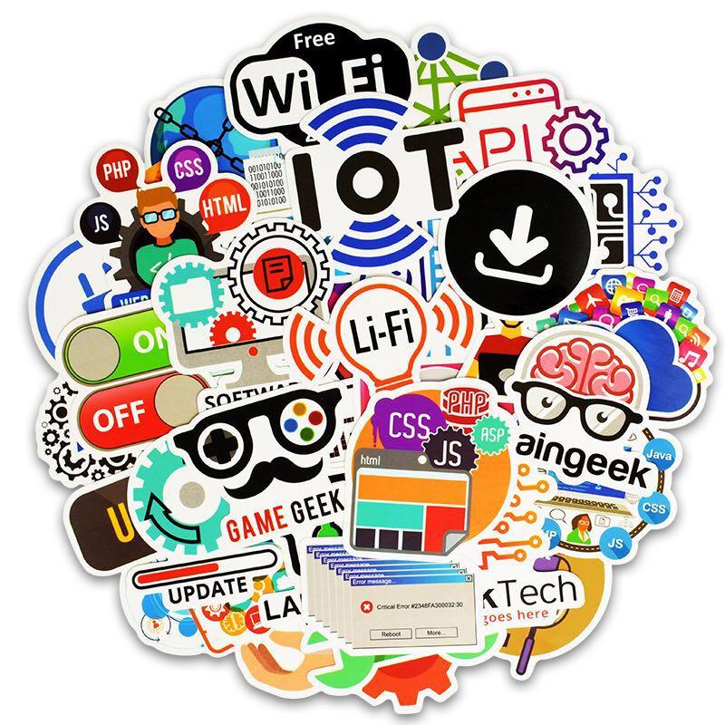 50 pièces programmation autocollant technologie logiciels programmes données autocollants créatifs pour Geek bricolage ordinateur portable téléphone PS4 ordinateur portable