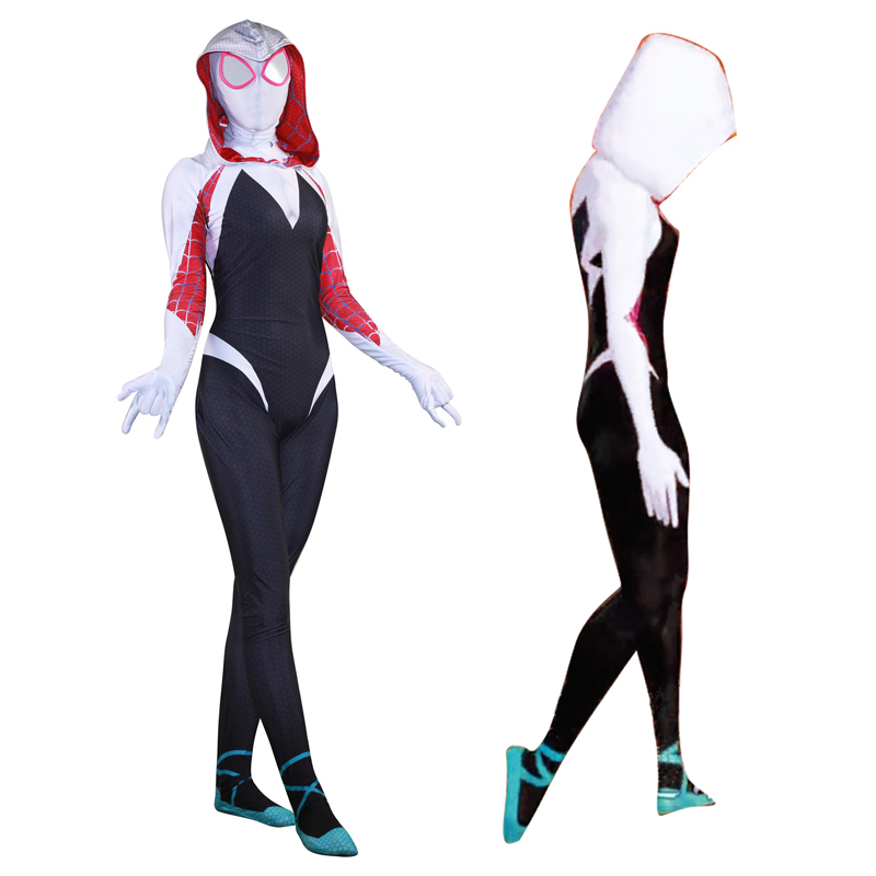 Woman Lycra Venom Symbiote SpiderMan Anti Gwen Stacy 3D Print Hooded Zentai Costumes Cosplay with Mask Lens For Halloween