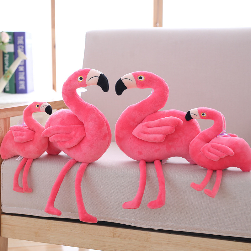 Full Length 24cm Sitting Height 15cm Pink Girl Heart Flamingo Doll Plush Toy Dolls Send Children Girl Gift Toy