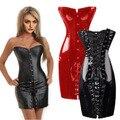 Corset PVC sexy corpete de couro fichário peito espartilhos e corpetes e espartilhos bustier 6xl plus size aço desossado bustier corset