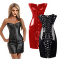 PVC corset sexy corpete chest binder leather corsets and bustier corpetes e espartilhos bustier 6xl plus size steel boned corset