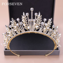 Bride Tiaras and Crowns Wedding Hair Accessories For Women Gold Tiara Rhinestone Pearl Crown Head Piece Diadem Marry Hair Jewelr(China)